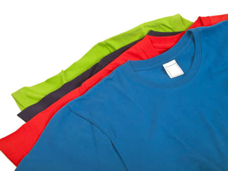 four colorful t shirts isolated on white background