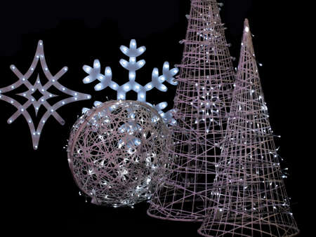 decorative christmas ornaments, ball, snowflake, pine... Stock Photo