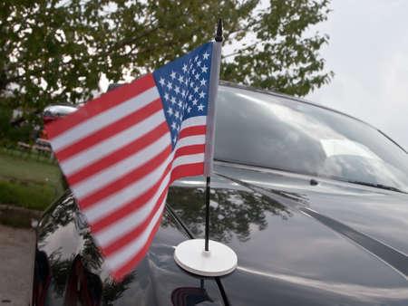 stars and stripes on shiny car