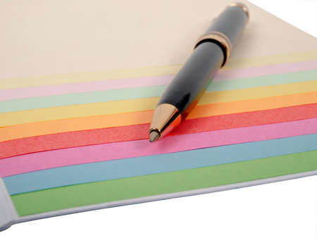 color papers and ballpoint pen Stock Photo - 16688636