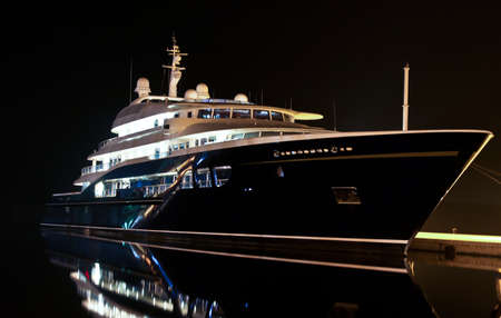 yacht in dock in cold winter night