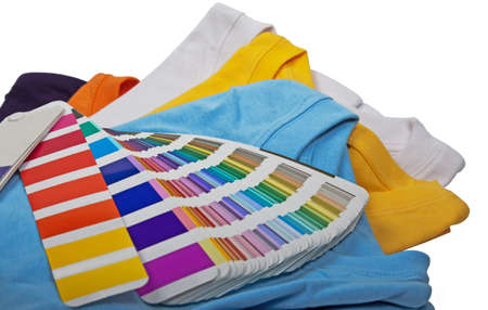 five colorful t shirts and color scale