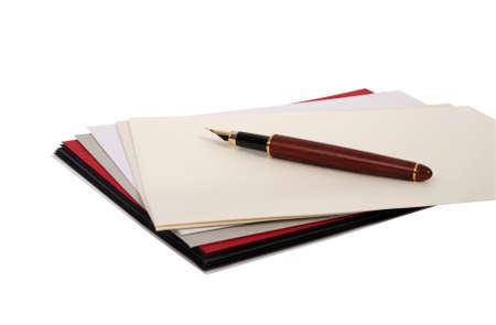 envelops: Envelops and fountain pen isolated on white background Stock Photo