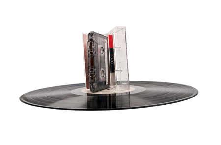 audio tape and vinyl record Stock Photo