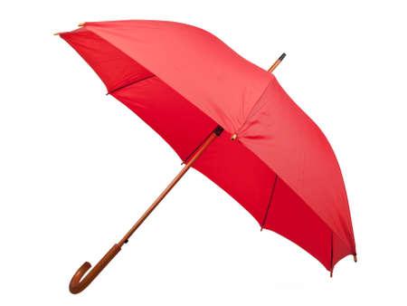 lluvia paraguas: paraguas rojo aislado sobre fondo blanco Foto de archivo