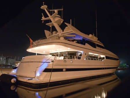 luxury yacht in winter night