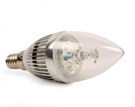 led candle light bulb isolated on white background Standard-Bild