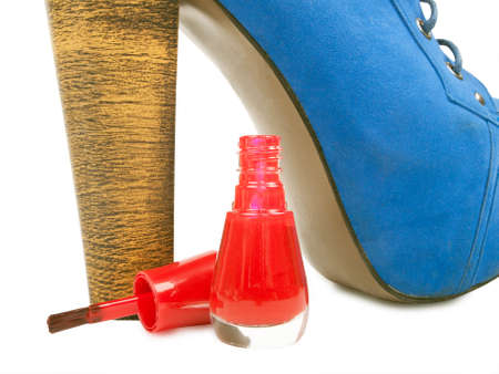 varnish for manicure and high heel, isolated photo