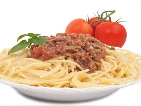 spaghetti bolognese with basil, italian cuisine