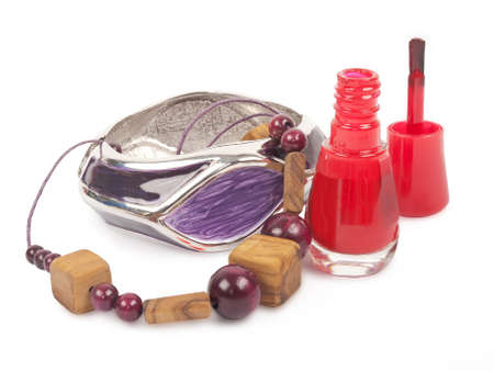 nail polish, wooden necklace, modern bracelet, isolated photo
