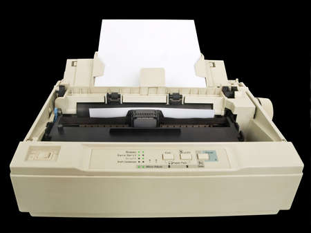 one old and dirty dot matrix printer Stock Photo