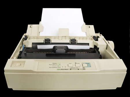 one old and dirty dot matrix printer Фото со стока