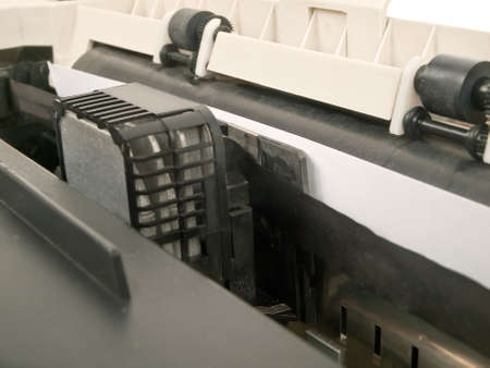 old dirty dot matrix printer in function