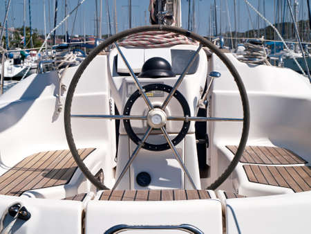 Helm station on sailing boat Stock Photo