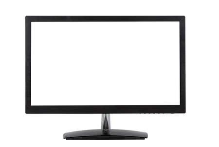 monitor de computadora: monitor de ordenador aislado en el fondo blanco Foto de archivo