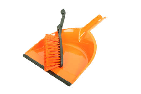 brush and dustpan isolated on white background Stock Photo