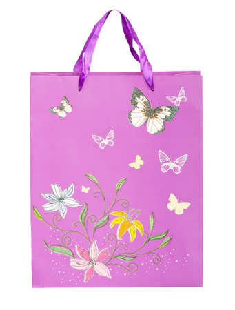pink shopping bag with flowers and butterflies photo