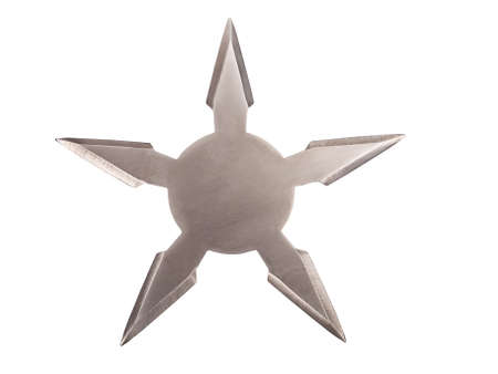 throwing five star ninja Shuriken isolated on white background photo