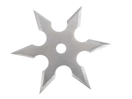 throwing blade star ninja Shuriken isolated on white  Stock Photo