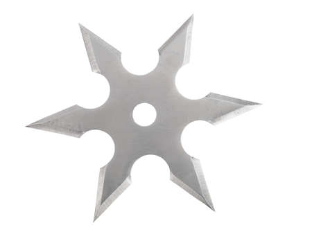 throwing blade star ninja Shuriken isolated on white  photo