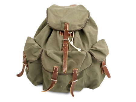 old military backpack isolated on white
