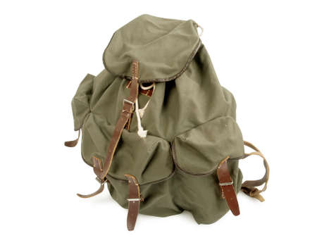 old military backpack isolated on white background