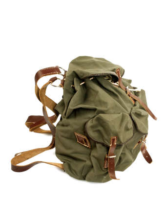 military backpack isolated on white, side view, studio shot, isolated on white background photo