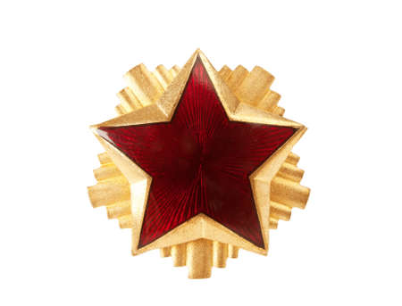 old red star from military cap, isolated on white background photo