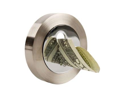 key hole shape: round keyhole and dollar banknote isolated on white background Stock Photo