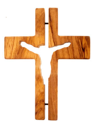 wooden cross: wooden cross with Jesus isolated on white background Stock Photo
