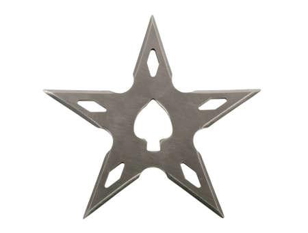 shuriken: lanzando estrellas ninja de Shuriken hoja aislado sobre fondo blanco Foto de archivo