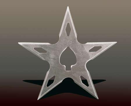 throwing blade star ninja Shuriken, isolated on abstract background, studio shot photo