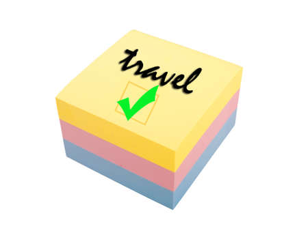 color block: three color block of post it notes, travel reminder