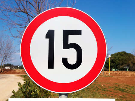 road sign speed limit, outdoor shoot Stock Photo