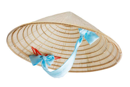 conical: Vietnamese conical hat with blue ribbon isolated on white, studio shot
