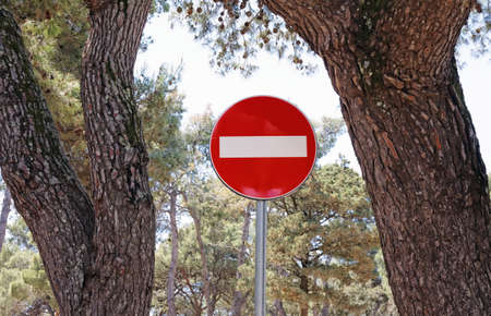 do not enter: do not enter traffic sign between two trees Stock Photo