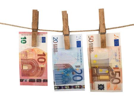 banconote euro: banconote in euro essiccazione a clothesline Archivio Fotografico