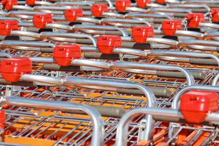 rows of shopping carts Stock Photo
