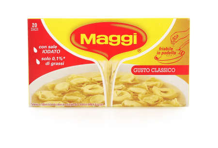 PULA, CROATIA - NOVEMBER 10, 2015. Maggi cubes, Owned by Nestle, Maggi is an international brand of soups, stocks, bouillon cubes, ketchups, sauces, seasonings and instant noodles. Editorial