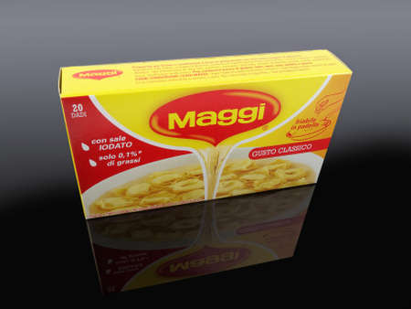 knorr: PULA, CROATIA - NOVEMBER 10, 2015. Maggi cubes, Maggi is an international brand of soups, stocks, bouillon cubes, ketchups, sauces, seasonings and instant noodles.