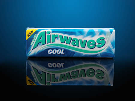 chewing gum: PULA, CROATIA - NOVEMBER 9, 2015. Airwaves chewing gum. Airwaves is a brand of sugarfree chewing gum produced by the Wm. Wrigley Jr. Company and sold primarily in Europe and East Asia.