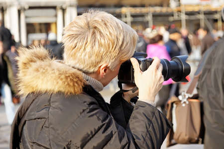 female photographer: close up of female photographer at the park Stock Photo