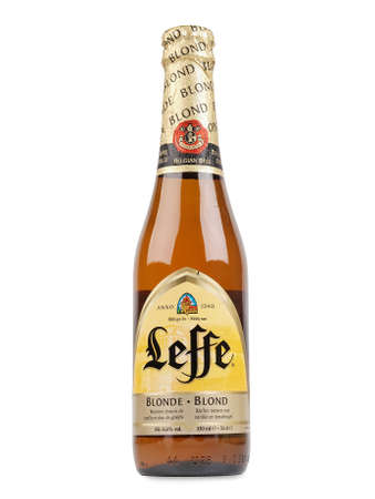 marketed: PULA, CROATIA - DECEMBER 13, 2015: Leffe beer bottle. Leffe is a beer brand owned by InBev Belgium marketed as Abbey beer.