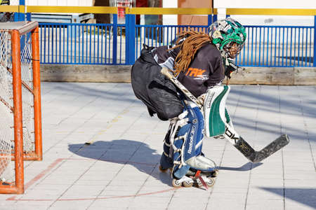 bodycheck: PULA, CROATIA - NOVEMBER 28, 2015 : Street hockey goalie, participant of JHL league in action