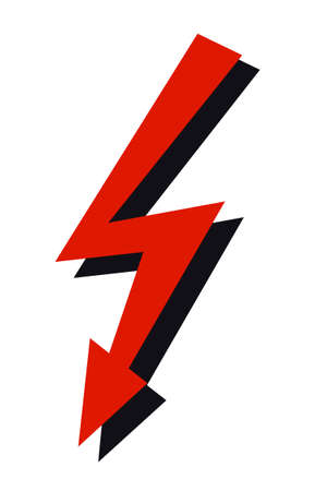 electroshock: high voltage sign, red and black arrows