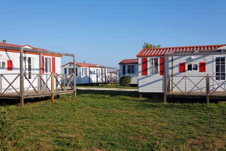 campsite: mobile homes with veranda in campsite