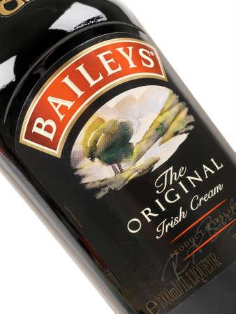 baileys: PULA, CROATIA - JANUARY 04, 2016: Bottle of Baileys Irish cream. Baileys Irish Cream is an Irish whiskey and cream based liqueur, made by Gilbeys of Ireland.