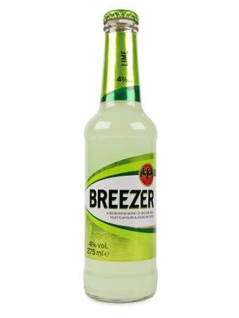 PULA, CROATIA - JANUARY 23, 2016: Bacardi Breezer Lime. Breezer a refreshing blend of alcohol, Bacardi rum, fruit flavours & sparkling water alc.4% 275ml.