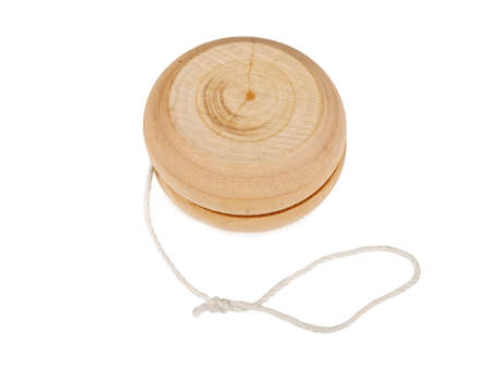 wooden yo-yo toy isolated on white background Standard-Bild