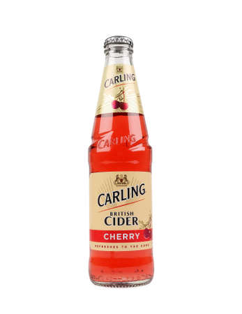 molson: PULA, CROATIA - FEBRUARY 22, 2016: Bottle of Carling Cider on a white background, Carling Brewery owned by Molson Coors Brewing Company - since 2005.